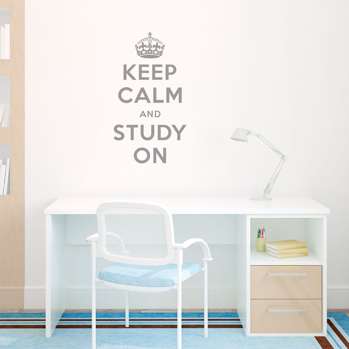 Keep calm and study on wall quote decal infamous keep calm poster than this decal would be perfect for your childs bedroom college dorm room a library or classroom keep calm and study on amipublicfo Choice Image