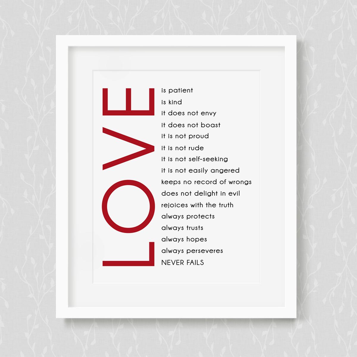 Love Is Patient Love Is Kind Quote Love Is Patient  Art Print