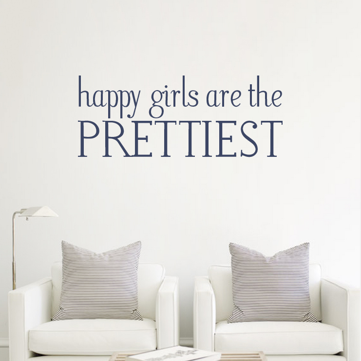 Happy Girls Are The Prettiest   Audrey Hepburn Wall Quote Decal Part 74