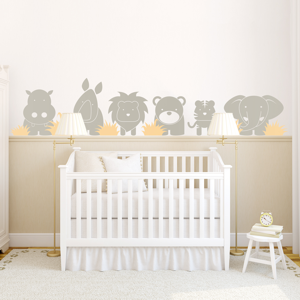zoo babies wall decal. Black Bedroom Furniture Sets. Home Design Ideas