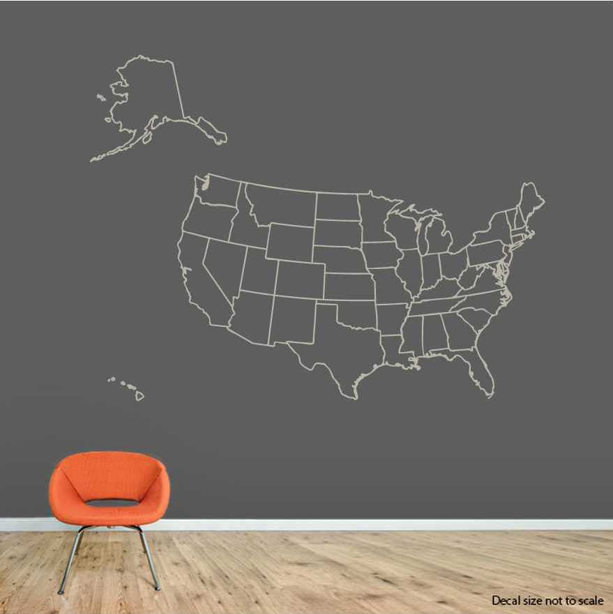 Clearance Warm Grey US Map Outline Wall Decal - Us map wall decal
