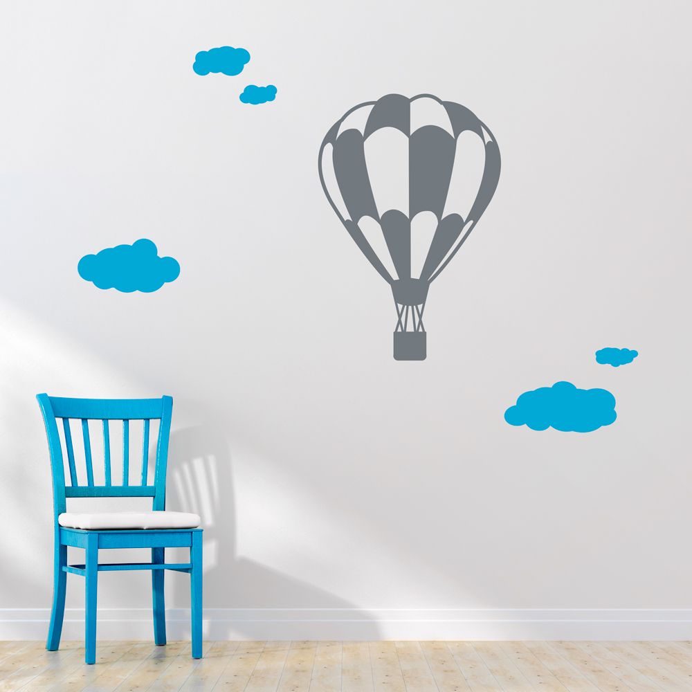 Wall Art Decal A Child's Imagination Will Soar With This Fun Hot Air  Balloon Surrounded By Playful Clouds Choose From Many Color Options To Add  Whimsy