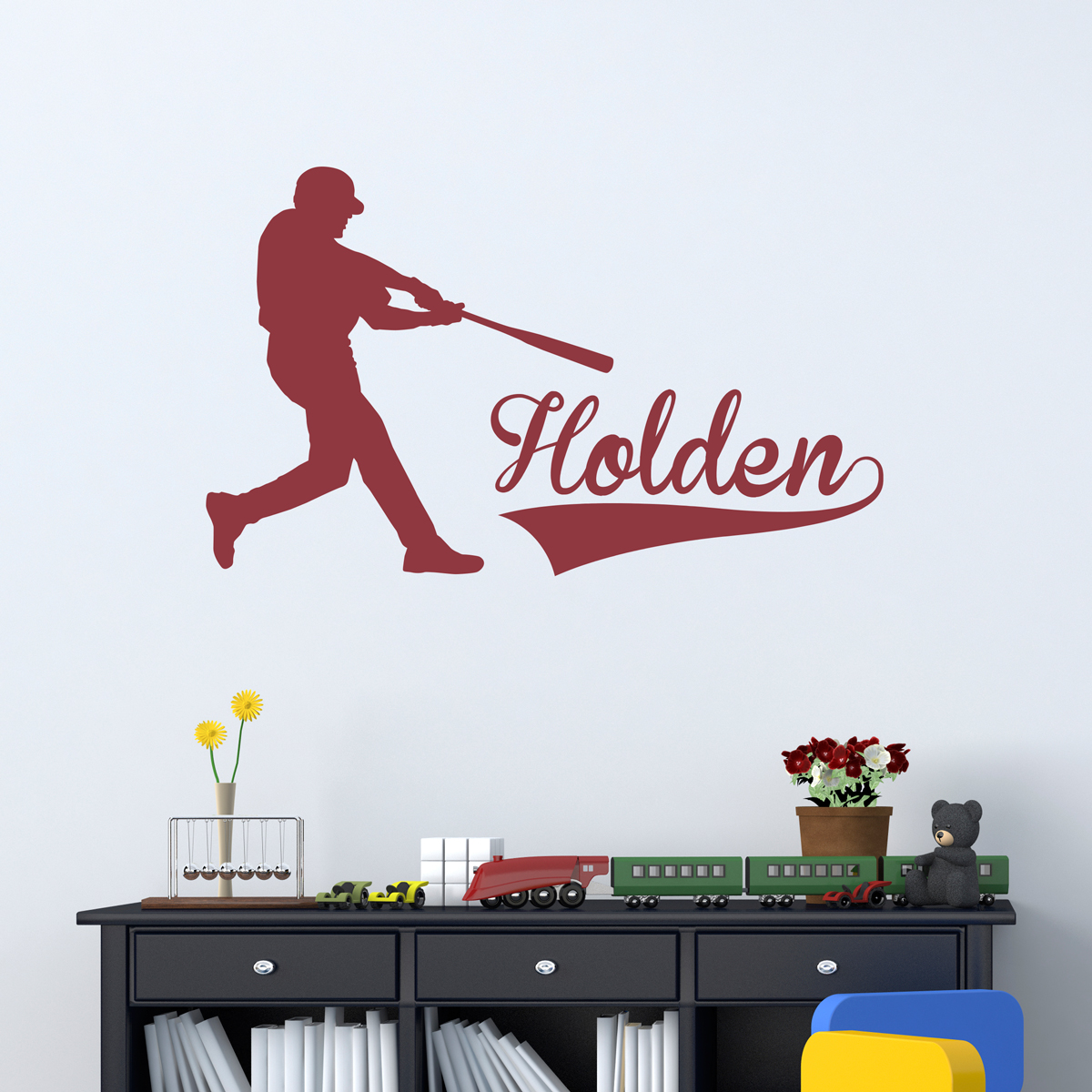 Attrayant Baseball Batter Name Wall Art Decal