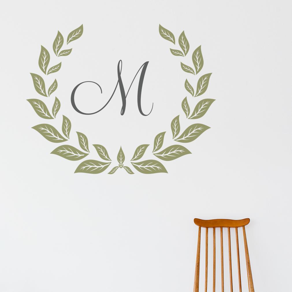 personalized monogram wreath personalized monogram wreath wall art decal