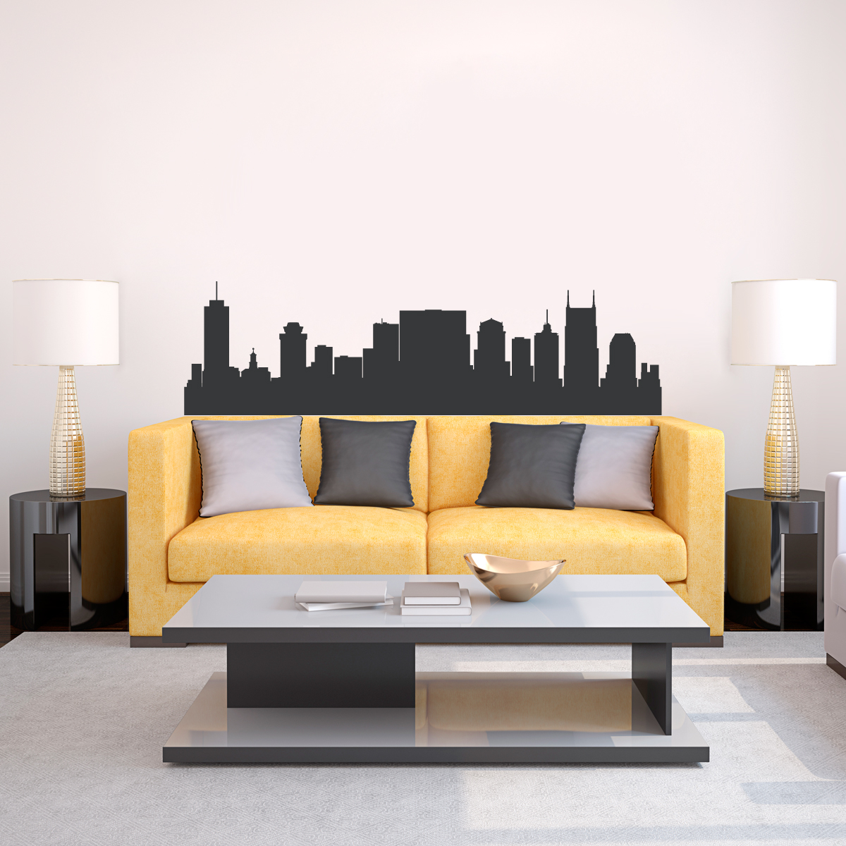Nashville Wall Art nashville tennessee skyline vinyl wall decal sticker