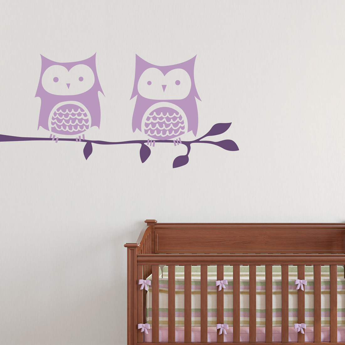 owl pair on branch wall decal. Black Bedroom Furniture Sets. Home Design Ideas