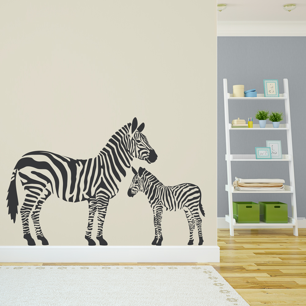 Clearance Black 71 Zebra Family Wall Art Decal