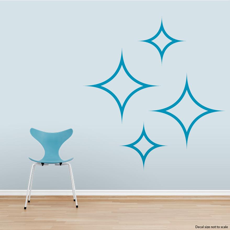 "Clearance Wall Art clearance] teal 12"" diamond stars wall art decal"