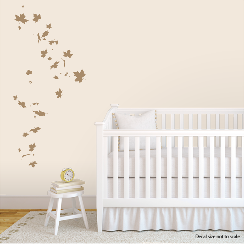 CLEARANCE Light Brown Falling Leaves Wall Decal - Wall decals leaves