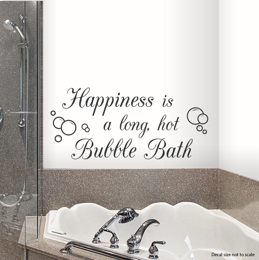 "Bath Quotes Brilliant Clearance Black 24"" Happiness Is A Long Hot Bubble Bath Wall"