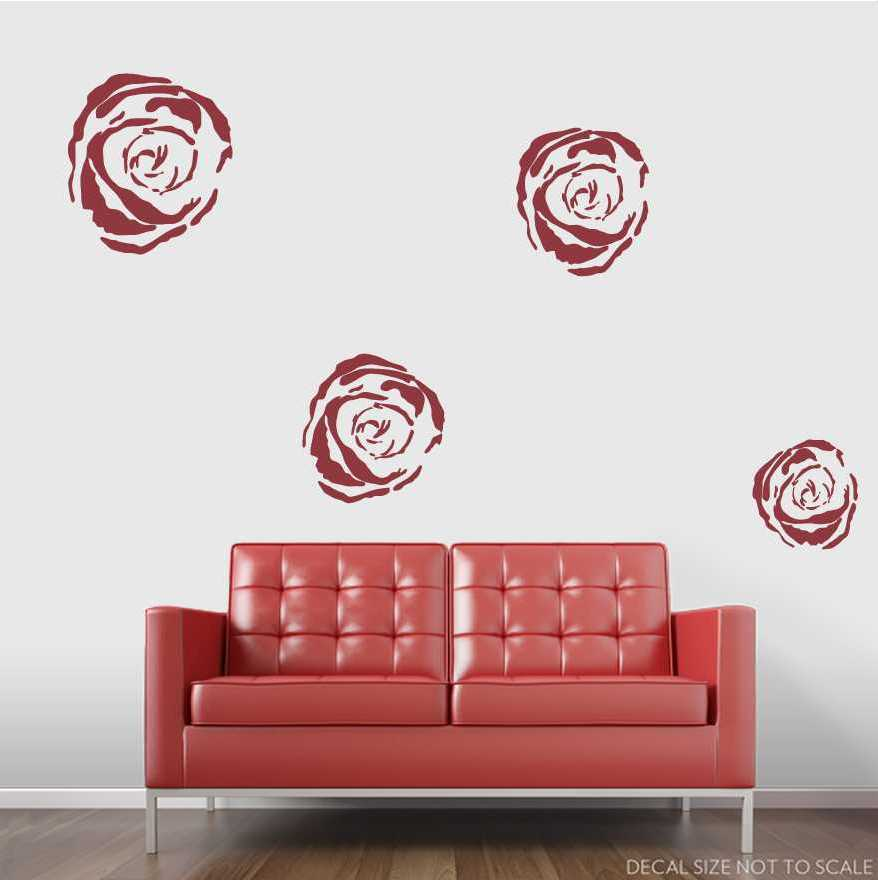 """Clearance Wall Art clearance] 4"""" dark red roses wall art decal"""