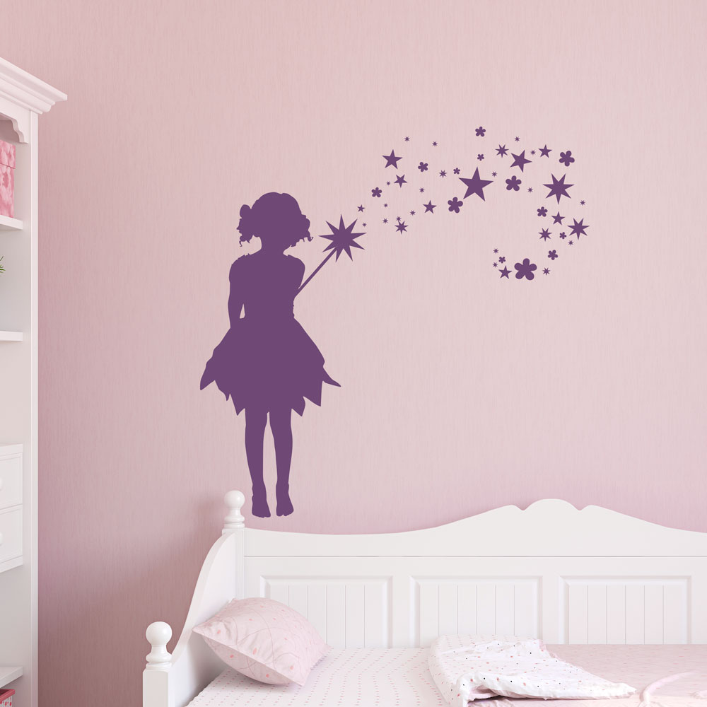 Attrayant Fairy Flowers And Stars Wall Art Decal ...