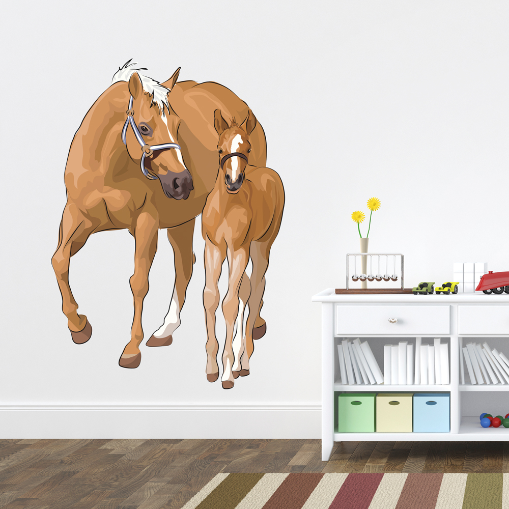Mother Horse And Colt Printed Wall Decal - Wall decals horses