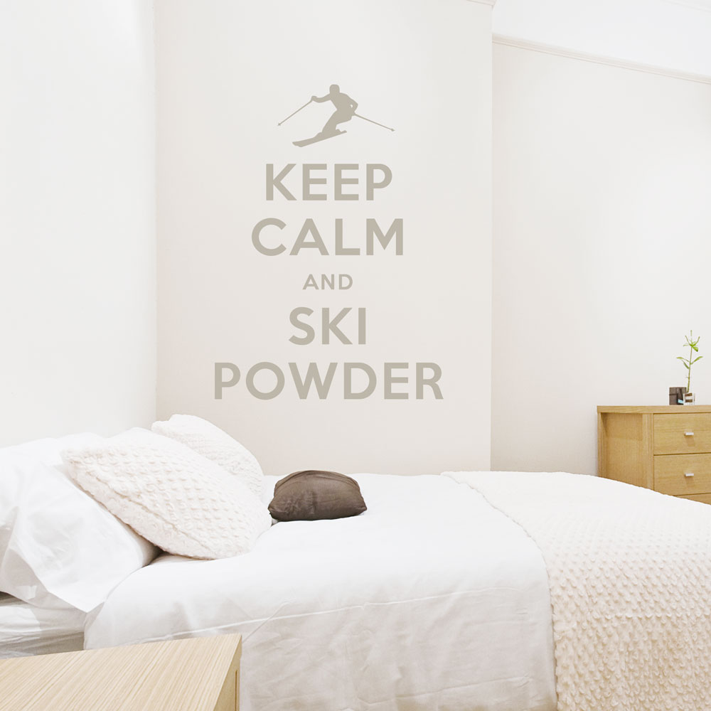 keep calm and ski powder wall quote decal