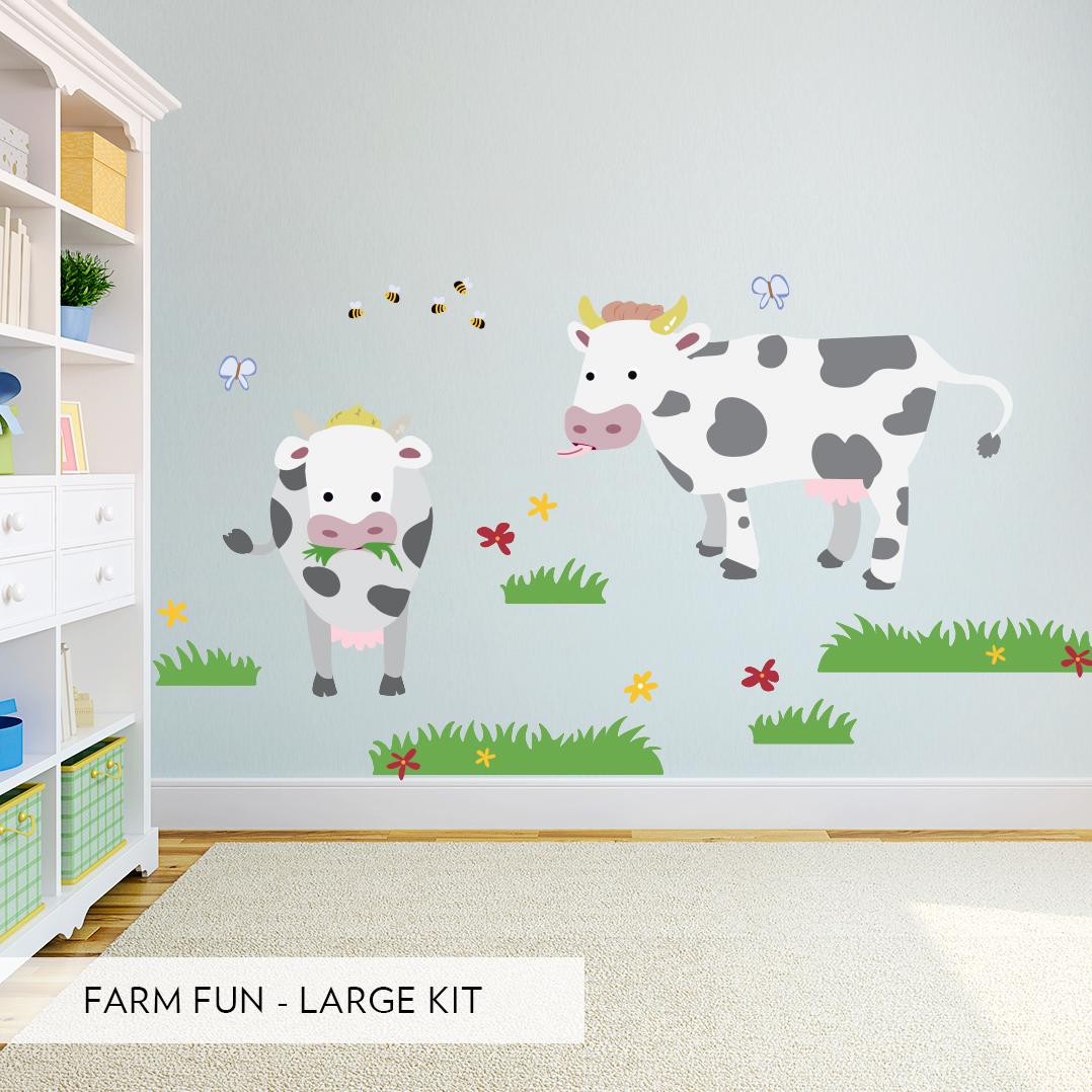 Kids Room Wall Decals Farm Wall Decals Farm Animal Decals: Farm Fun Printed Wall Decal