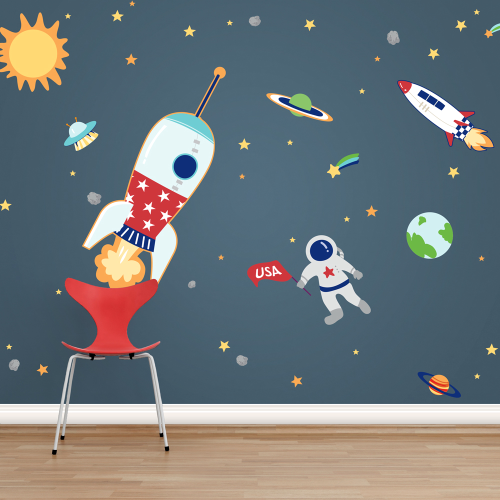 Space adventures printed wall decals for Outer space vinyl wall decals