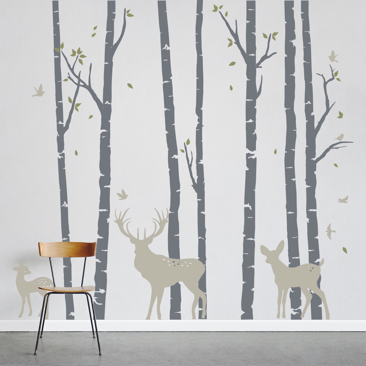 Bon Birch Trees Forest With Deer Wall Decal