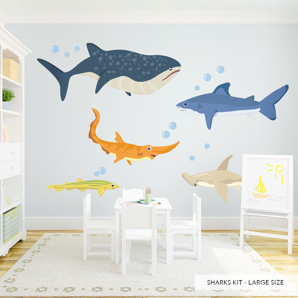 Shark adventures printed wall decal sharks printed wall decal shark adventures wall decal large amipublicfo Images