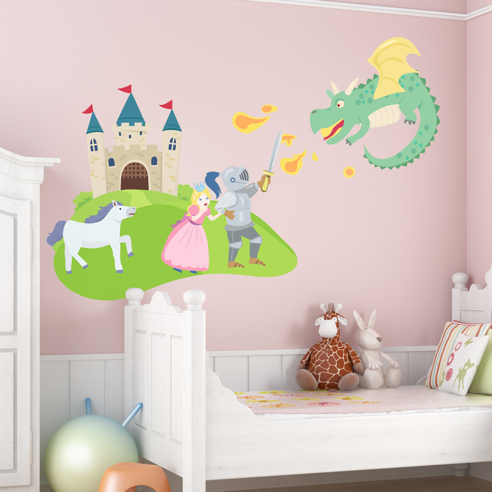 Fairy tale castle wall decal fairy tale wall sticker for Castle wall mural sticker