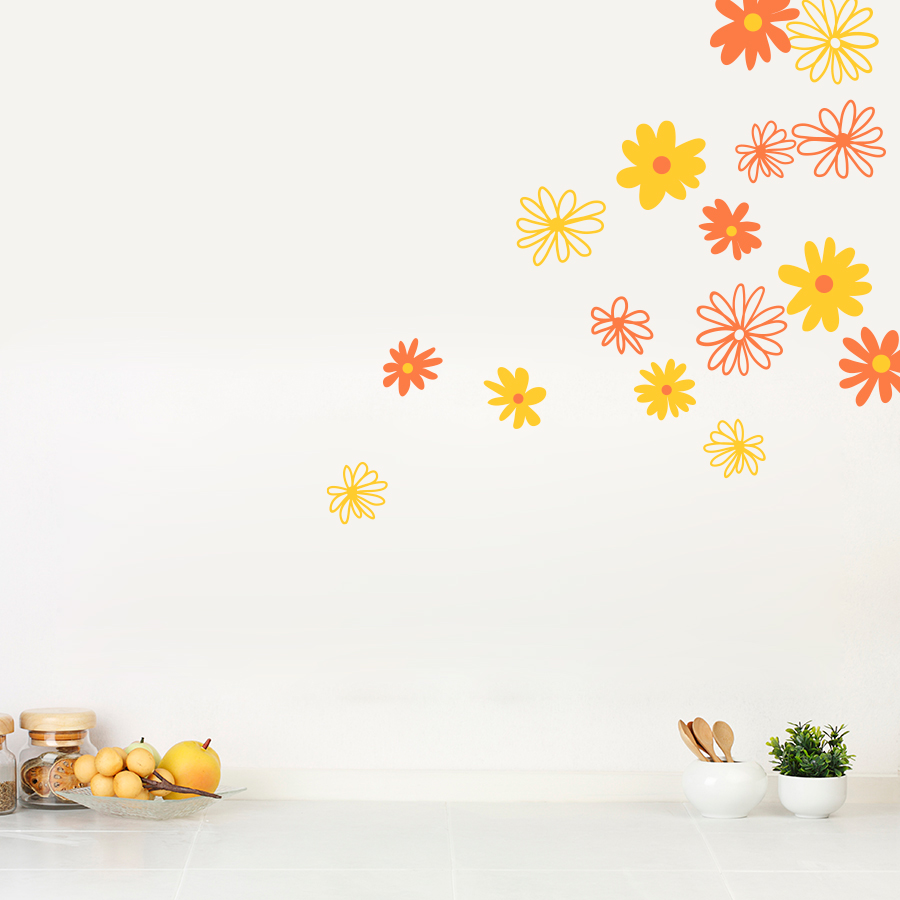 Superbe Daisy Flowers Wall Art Decal ...