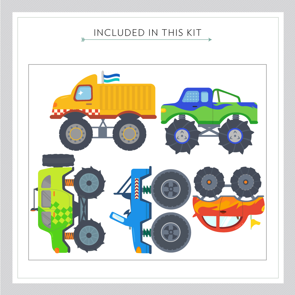 Monster trucks printed wall decal monster trucks printed wall decal monster truck wall decal kit amipublicfo Images