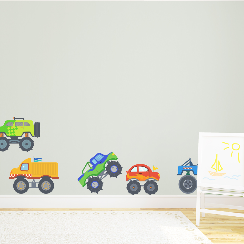 Good Monster Truck Wall Stickers Part - 6: Monster Trucks Printed Wall Decal