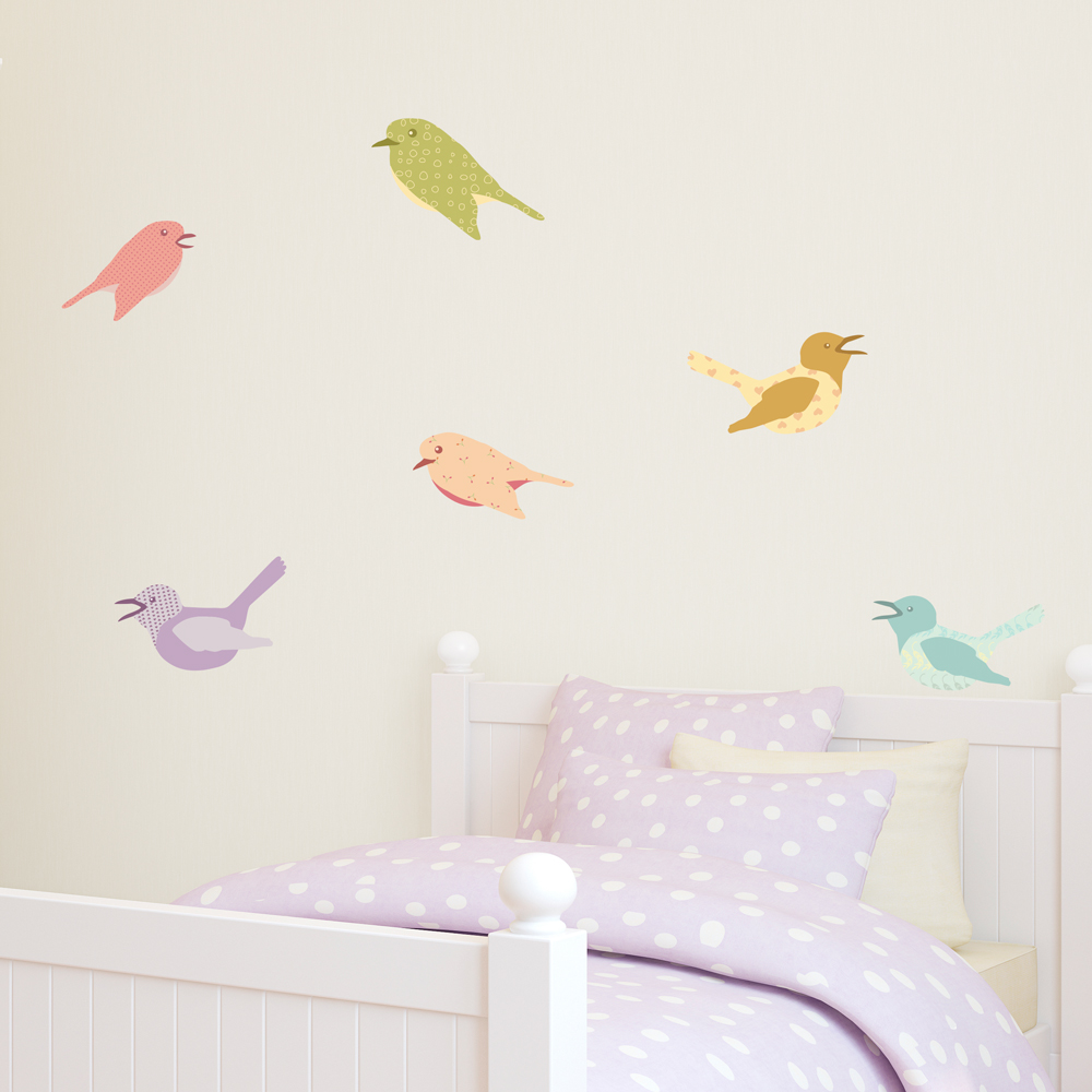 Cutesy Birds Printed Wall Decals - Wall decals birds