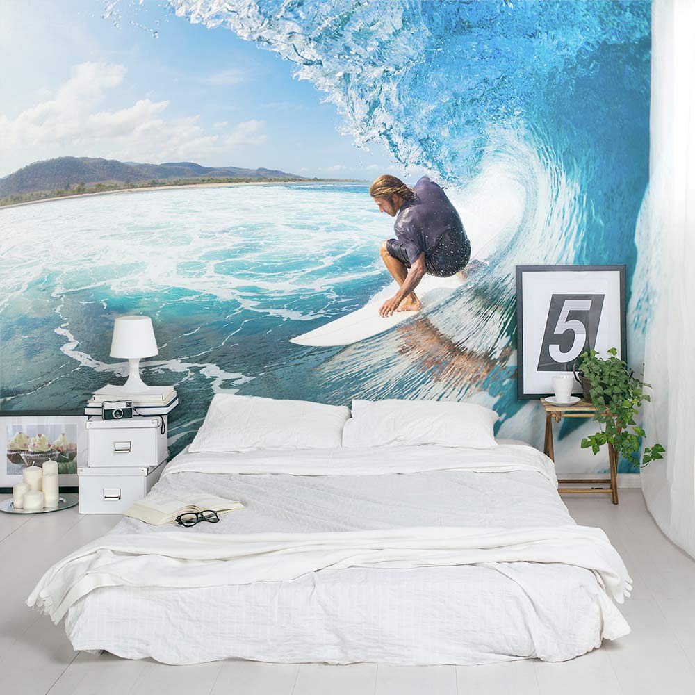 surfing wall mural surfing wall decal wallums. Black Bedroom Furniture Sets. Home Design Ideas