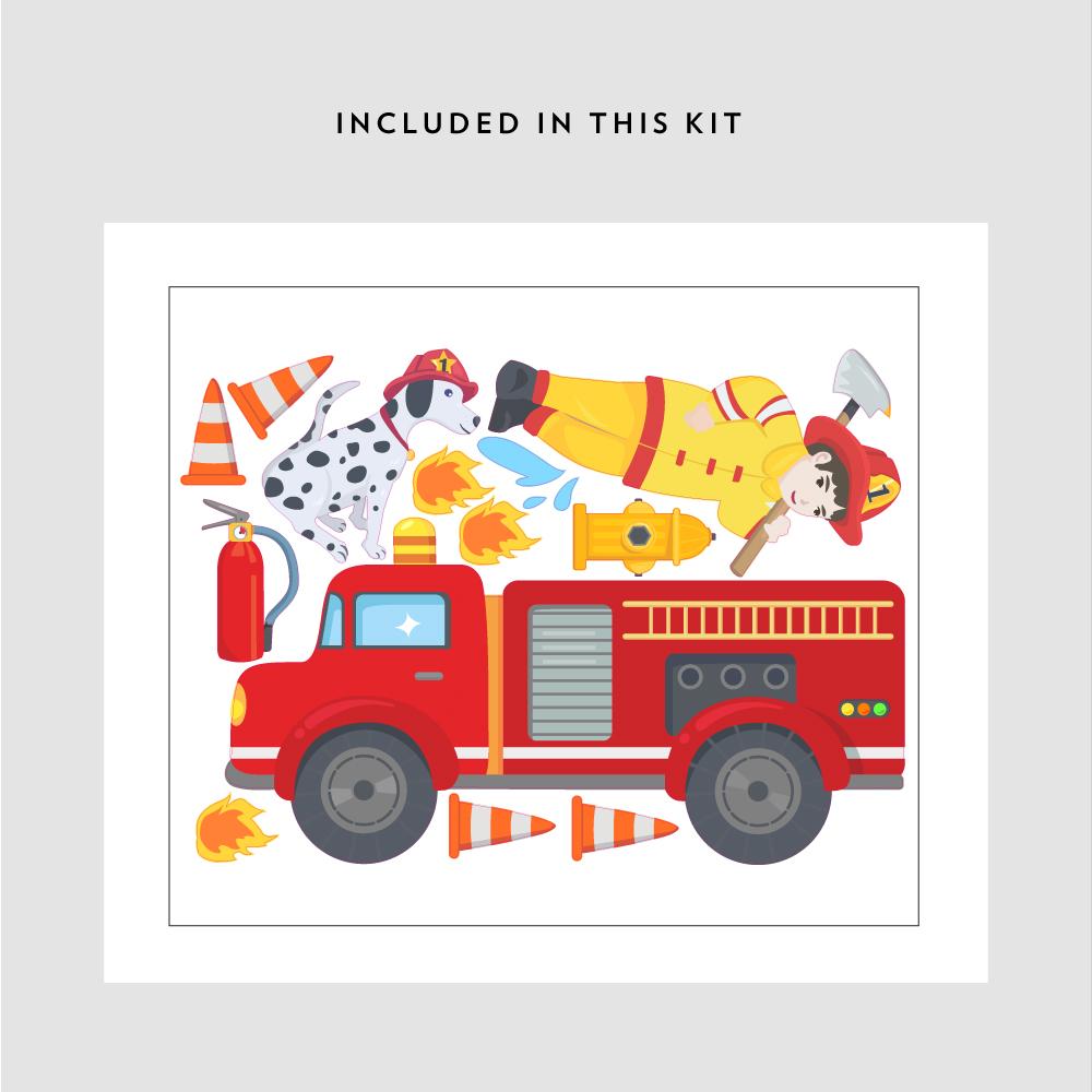 firetruck printed wall decal fire truck wall sticker decal
