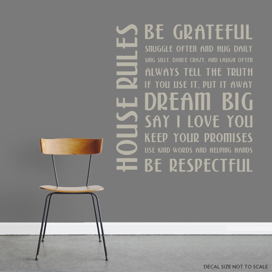 CLEARANCE Warm Grey House Rules Wall Decal Sticker - House rules wall decals