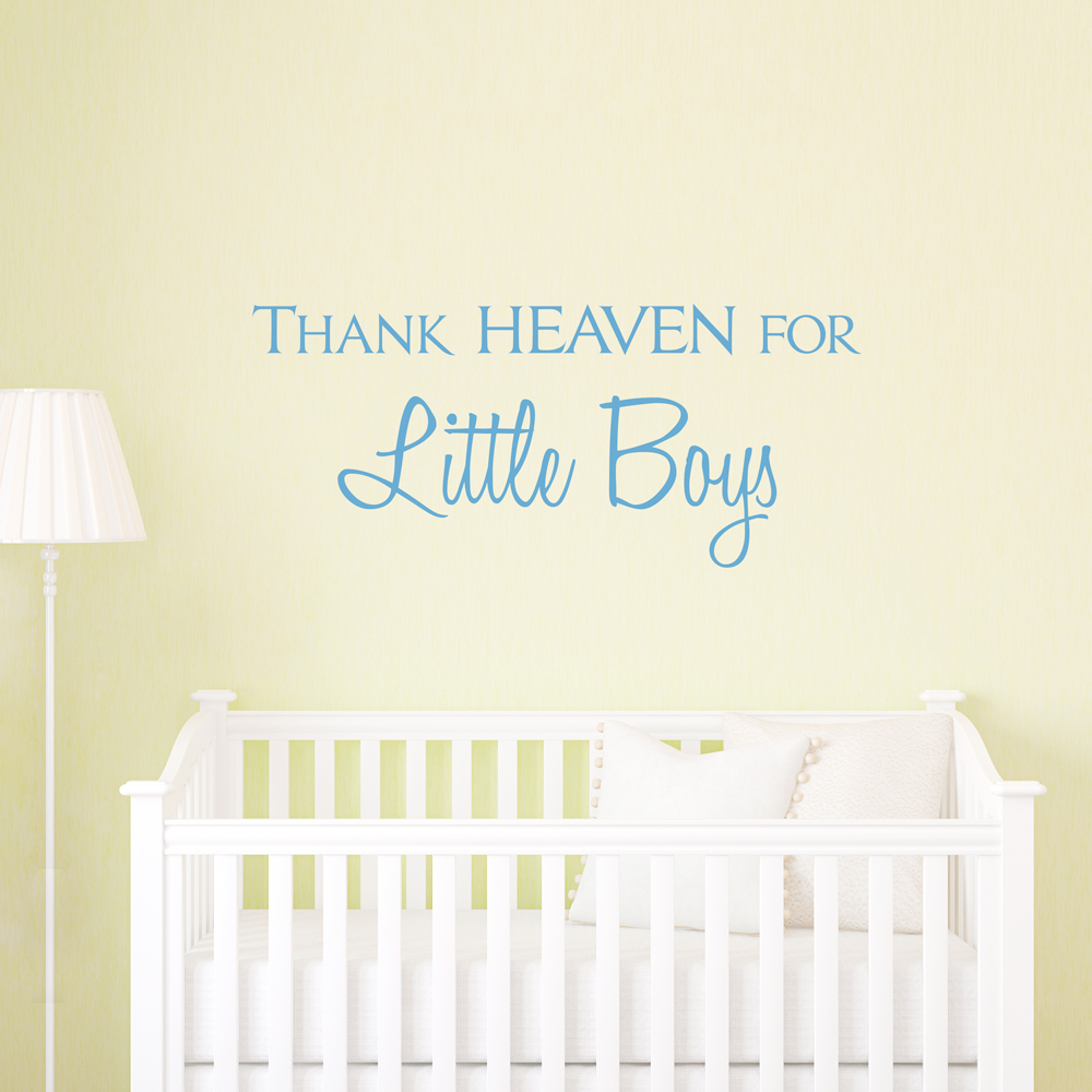 Thank heaven for little boys wall quote decal amipublicfo Images