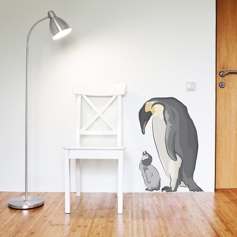 Emperor Penguin and Baby Printed Wall Decal