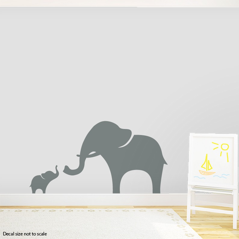 CLEARANCE Grey Mama And Baby Elephant Wall Decal - Elephant wall decals