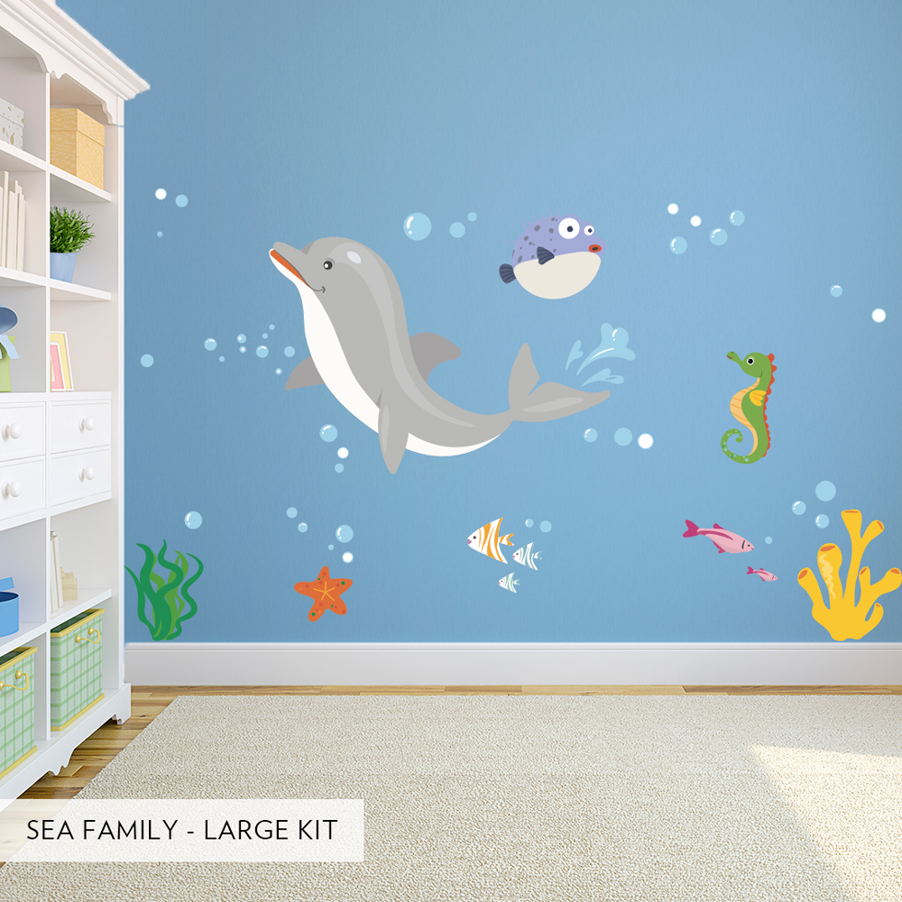 Sea family printed wall decals sea family printed wall decals sea family large kit amipublicfo Gallery