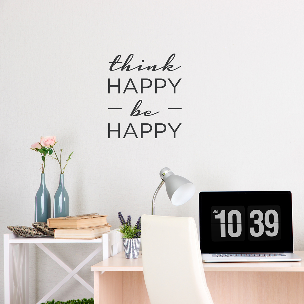 Think Happy Be Happy Wall Decal Quote Wallums Wall Decals - Wallums wall decals