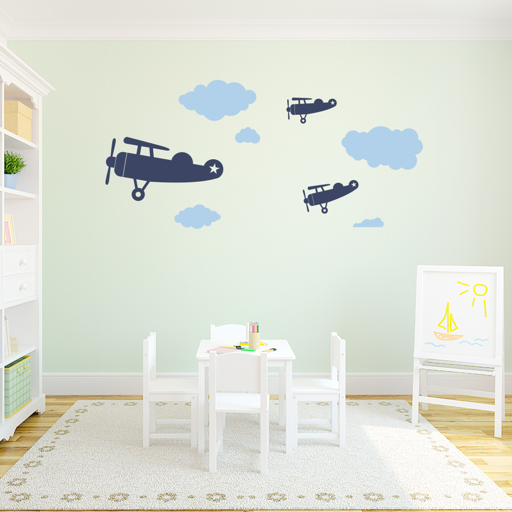 Vintage planes and clouds wall decal amipublicfo Image collections