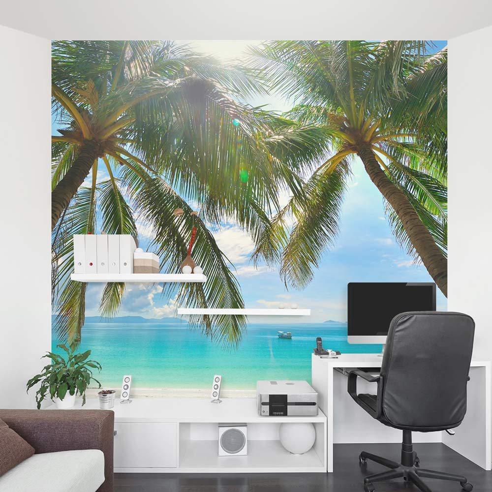 Tropical beach paradise wall mural for Beach mural for wall