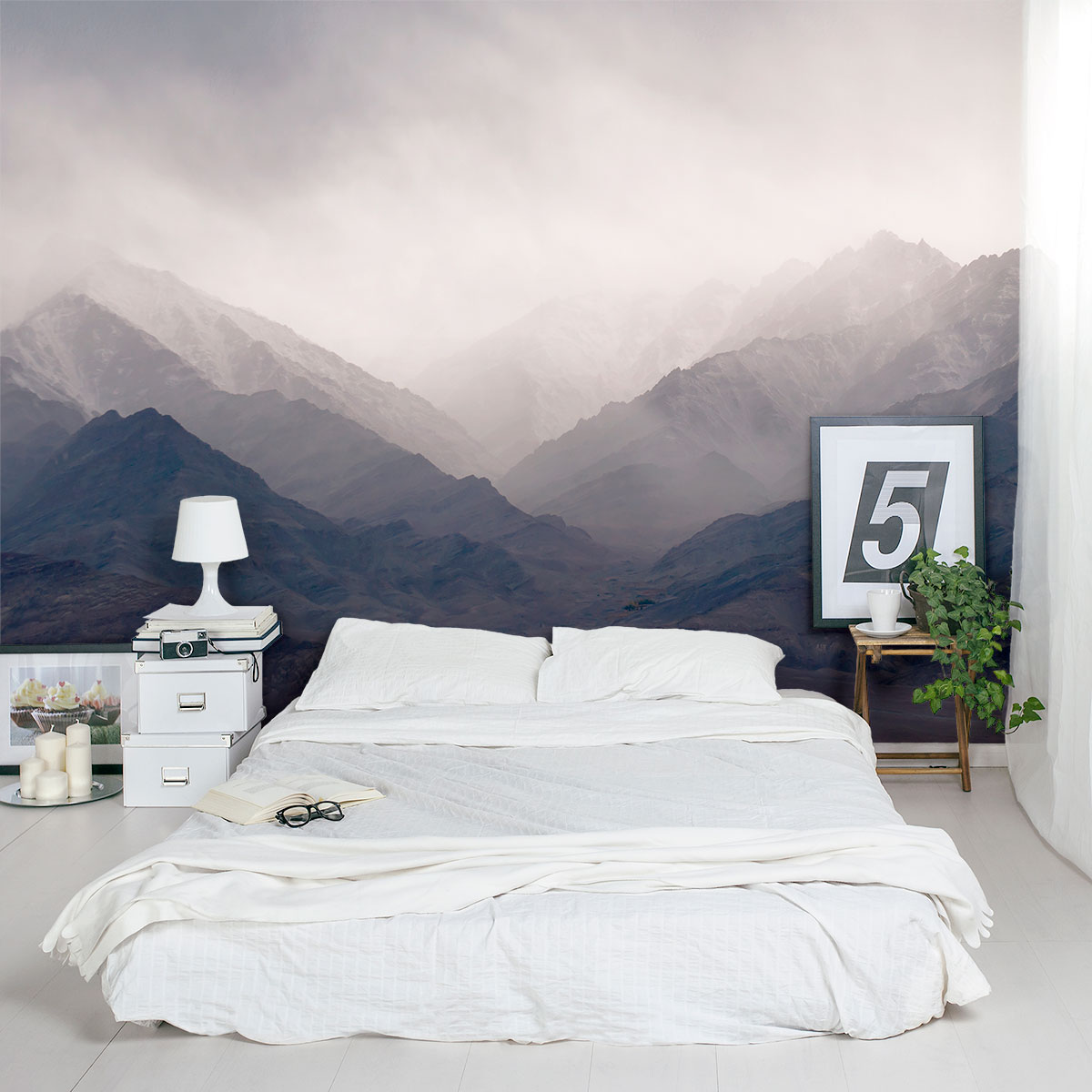 misty mountains wall mural. Black Bedroom Furniture Sets. Home Design Ideas