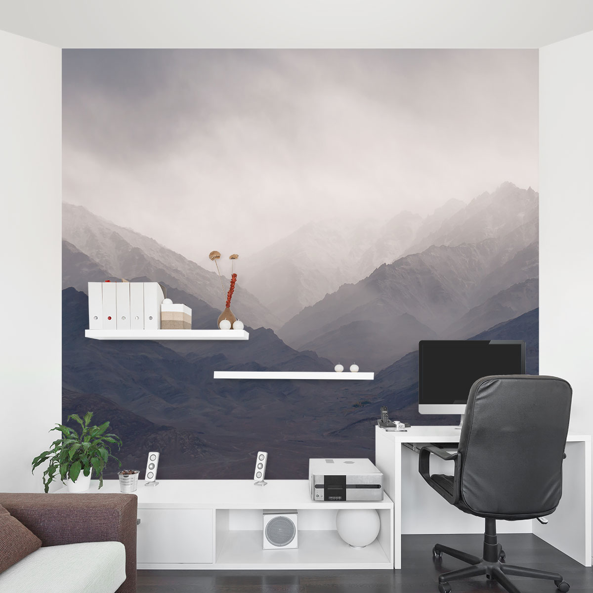 Scene Bedroom Ideas Misty Mountains Wall Mural