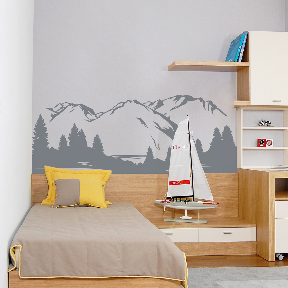 Mountain view wall decal amipublicfo Choice Image