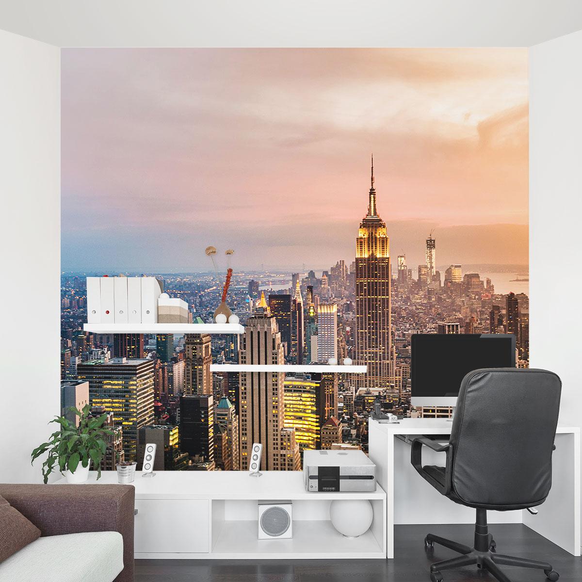 new york mural new york skyline murals new york tattoo design bild. Black Bedroom Furniture Sets. Home Design Ideas