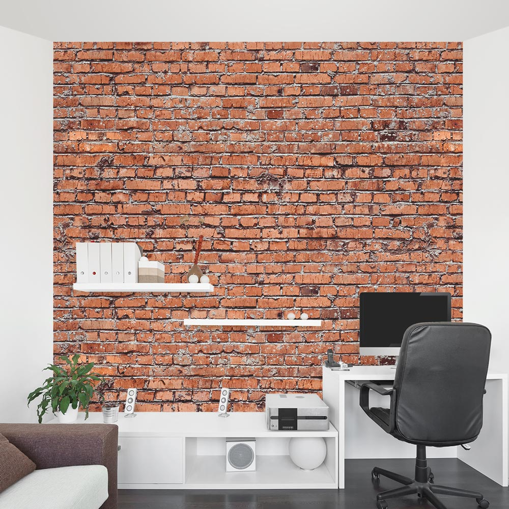 Exposed brick wall mural quotes for Brick wall mural