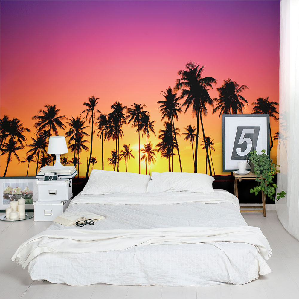 Palm Tree Sunset Wall Mural Palm Tree Sunset Mural ... Photo