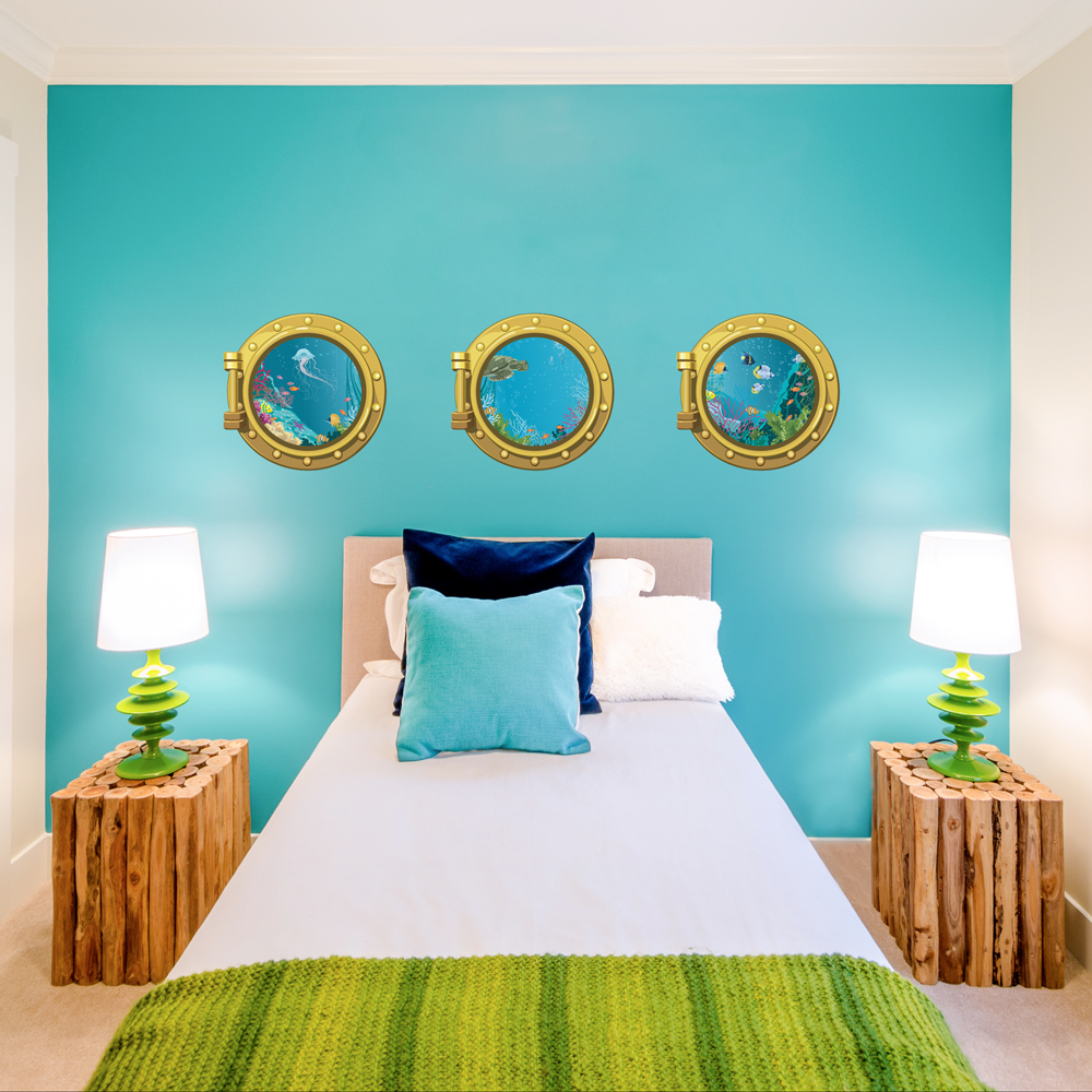 Sea Portholes Printed Wall Decals - Underwater wall decals