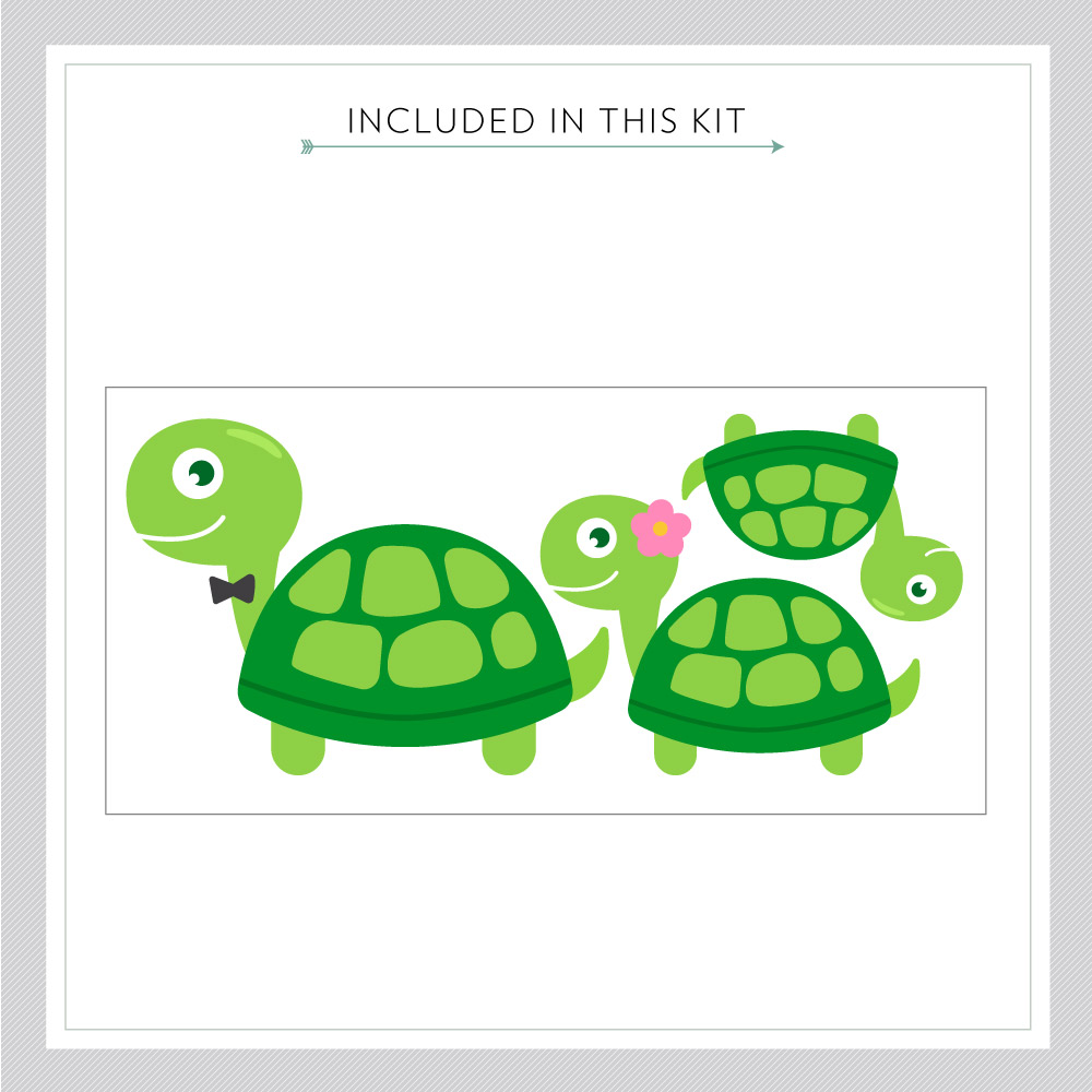 Turtle Family Printed Wall Decal - Family Wall Murals