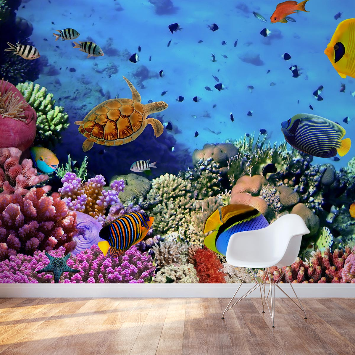 Sea reef life wall mural for Coral reef mural