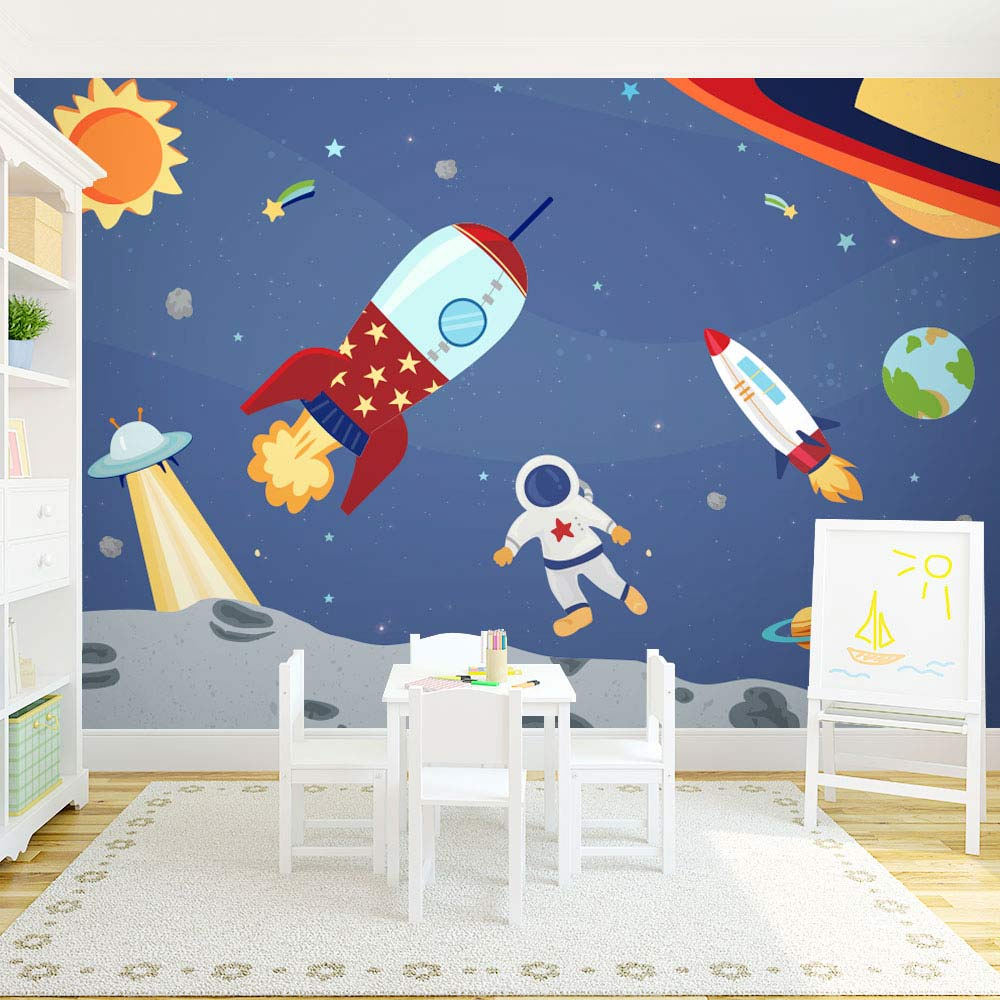 Space themed wall murals for Astronaut wall mural