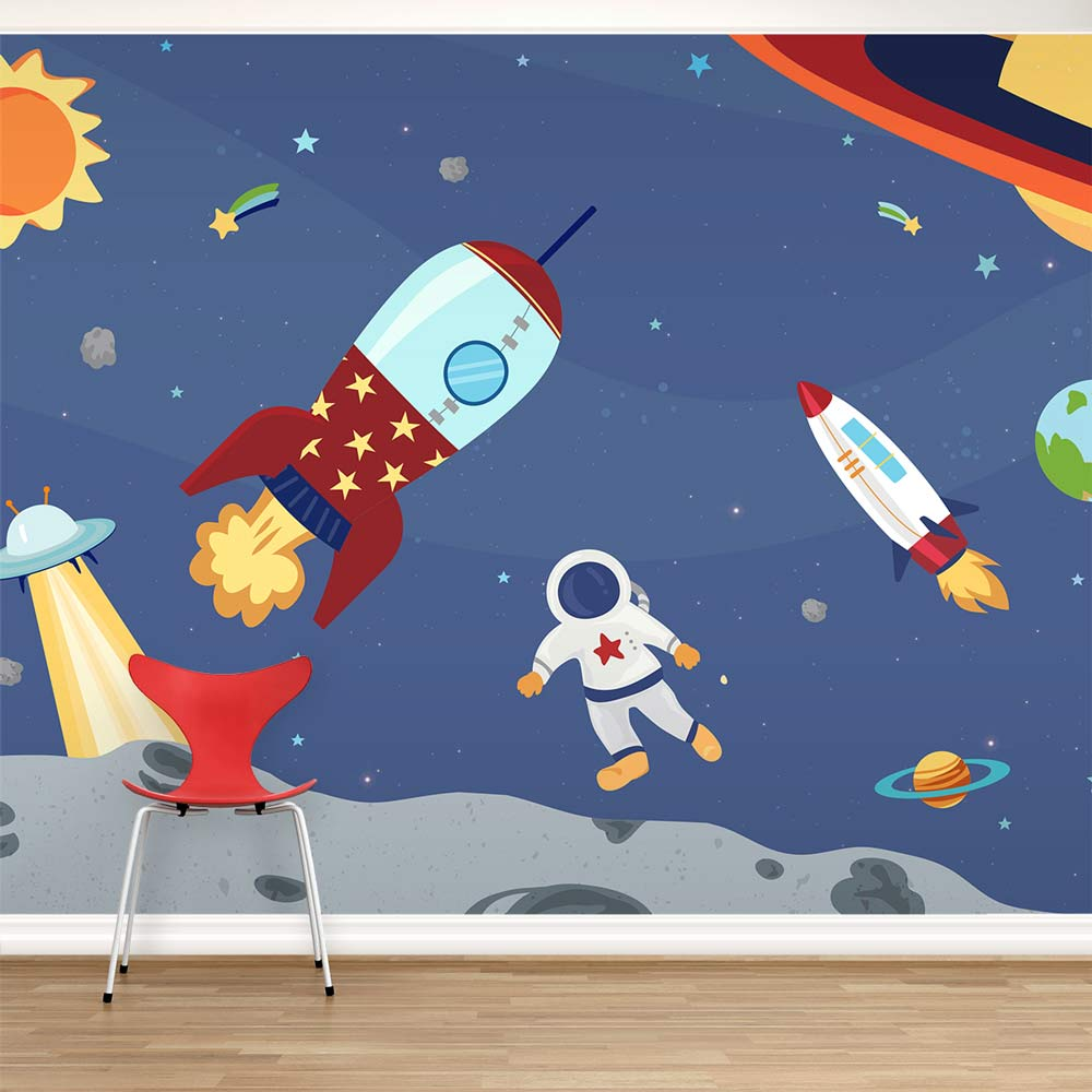 Space adventure wall mural for Astronaut wall mural