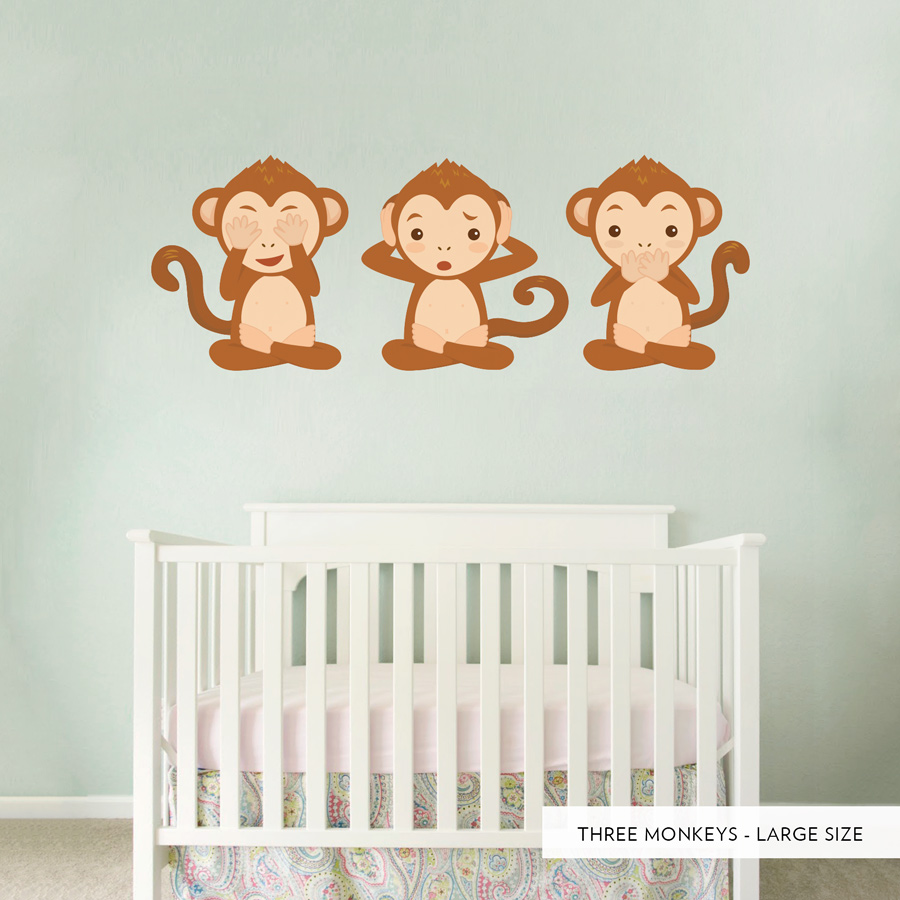 three monkeys printed wall decal. Black Bedroom Furniture Sets. Home Design Ideas