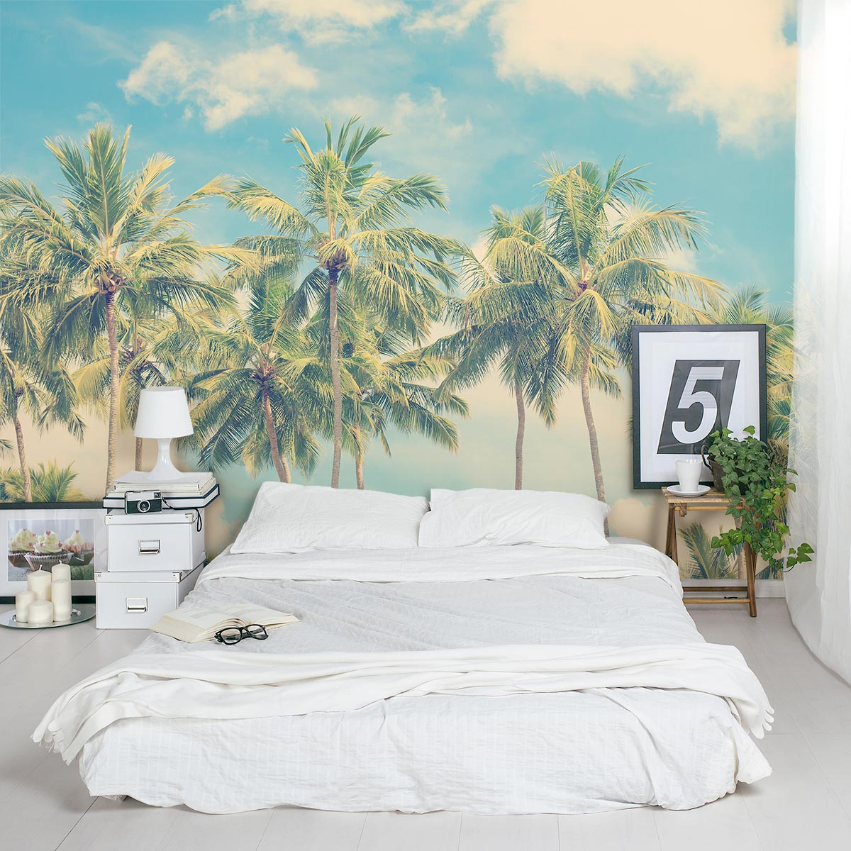 Vintage Summer Palms Wall Mural Images